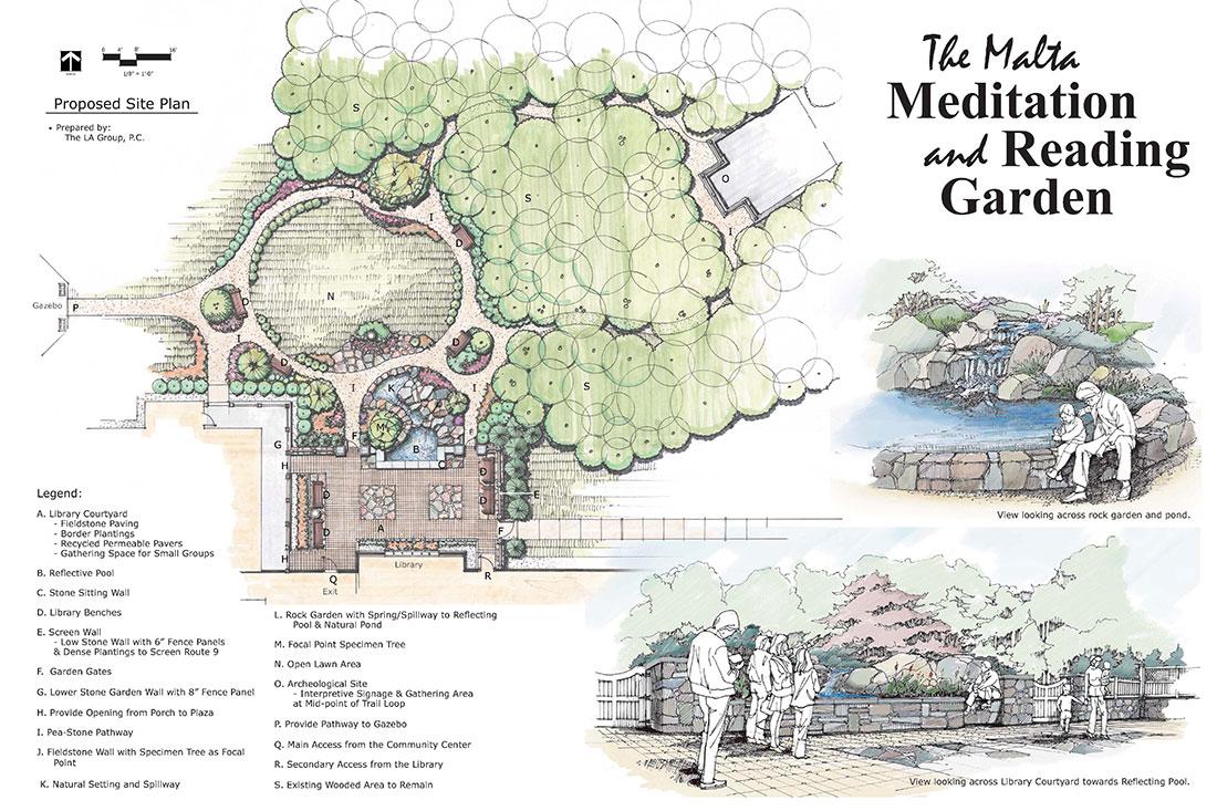 Good ... Design Meditation Garden Honors Those Who Passed Away Malta Reading  Garden Site Plan