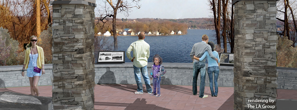View toward Saratoga Lake from Plaza Pavilion Overlook (rendering by The LA Group)