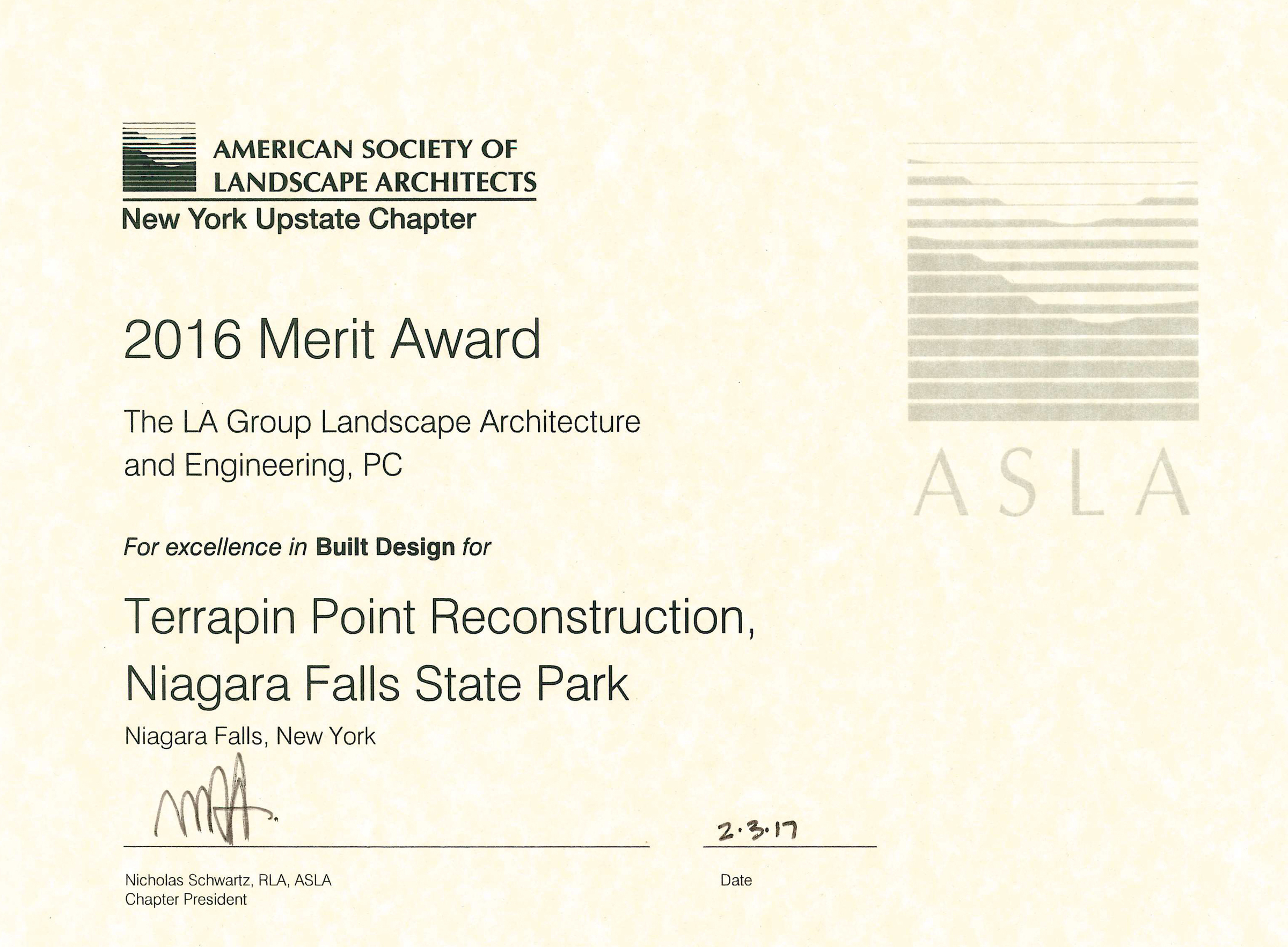 Project Objectives Included The Major Renovation Of Several Major Areas  Within The Park, Including Terrapin Point, Prospect Point And Lower Grove  Trails, ...  Merit Certificate Comments
